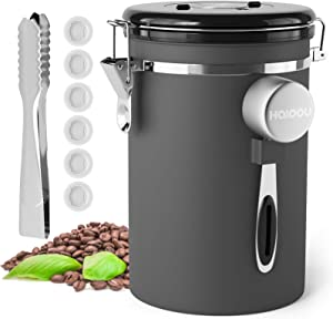 Airtight Coffee Canister, HAIOOU Large 22oz Stainless Steel Food Storage Container with Date Tracker, Scoop, 6Pcs CO2 Valve Filters and Extra Sugar Tong for Kitchen, Beans, Grounds, Sugar, Tea - Gray