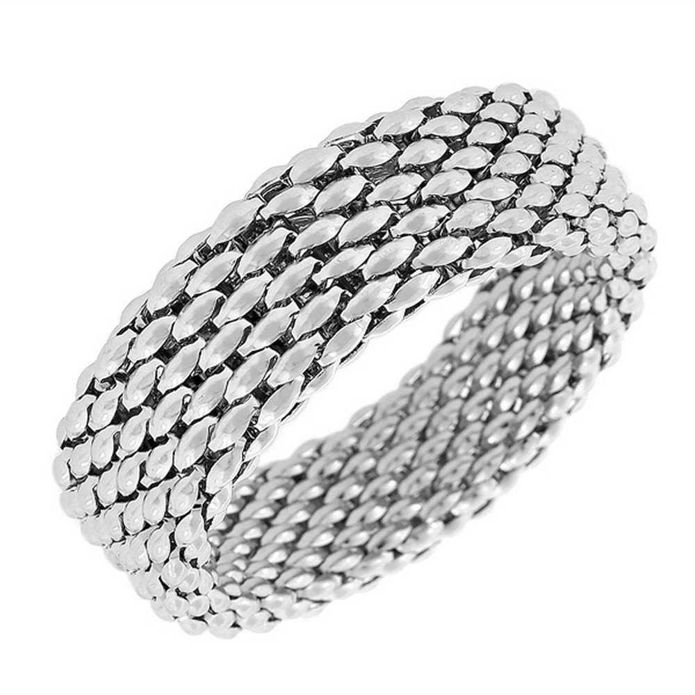 Stainless Steel Silver-Tone Mesh Wide Stretch Bangle Bracelet