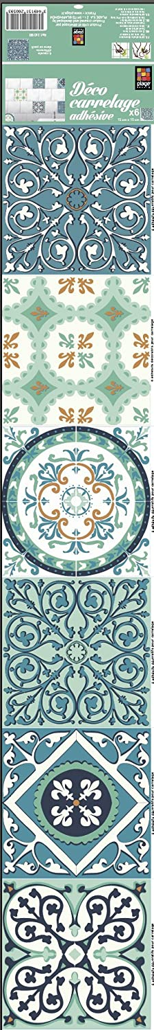 Plage 260593Smooth–Tiles Tiles Sticker Cement 20x 15x 15cm Green and Orange 6Sheet, 5.90