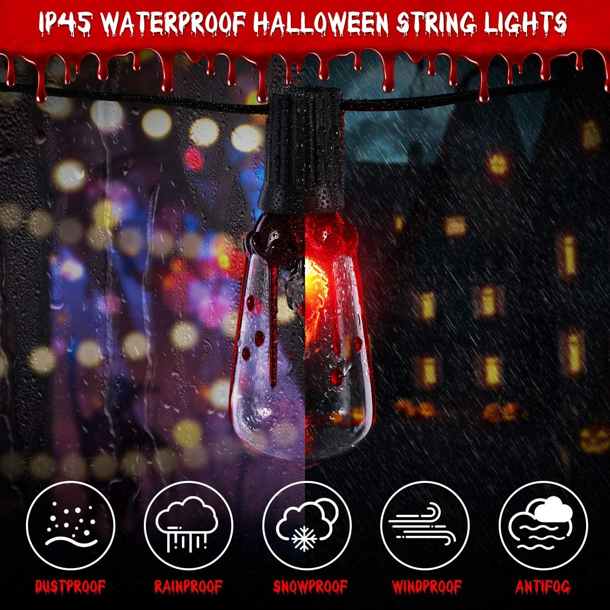 Halloween String Lights, 15.7FT Halloween Decorative Sting String Lights Waterproof Hanging String Lights for Halloween Decoration