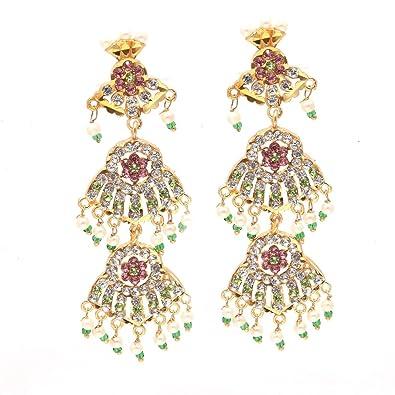 Buy Jewar Mandi Earrings Kundan Ad Cz Multi Gemstones Rajputi