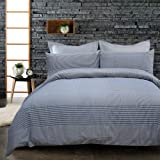 Merryfeel Cotton Duvet Cover Set,100% Cotton Yarn Dyed Plaid Check Duvet Cover and Pillowshams,3 Pieces Bedding Set - Full/Qu