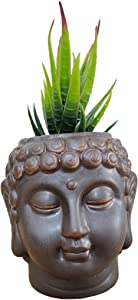 Cute Cartoon Buddha Head Shaped Succulent Cactus Flower Pot/Plant Pots/Planter/Container for Home Garden Office Desktop Decoration (Plants Not Included)