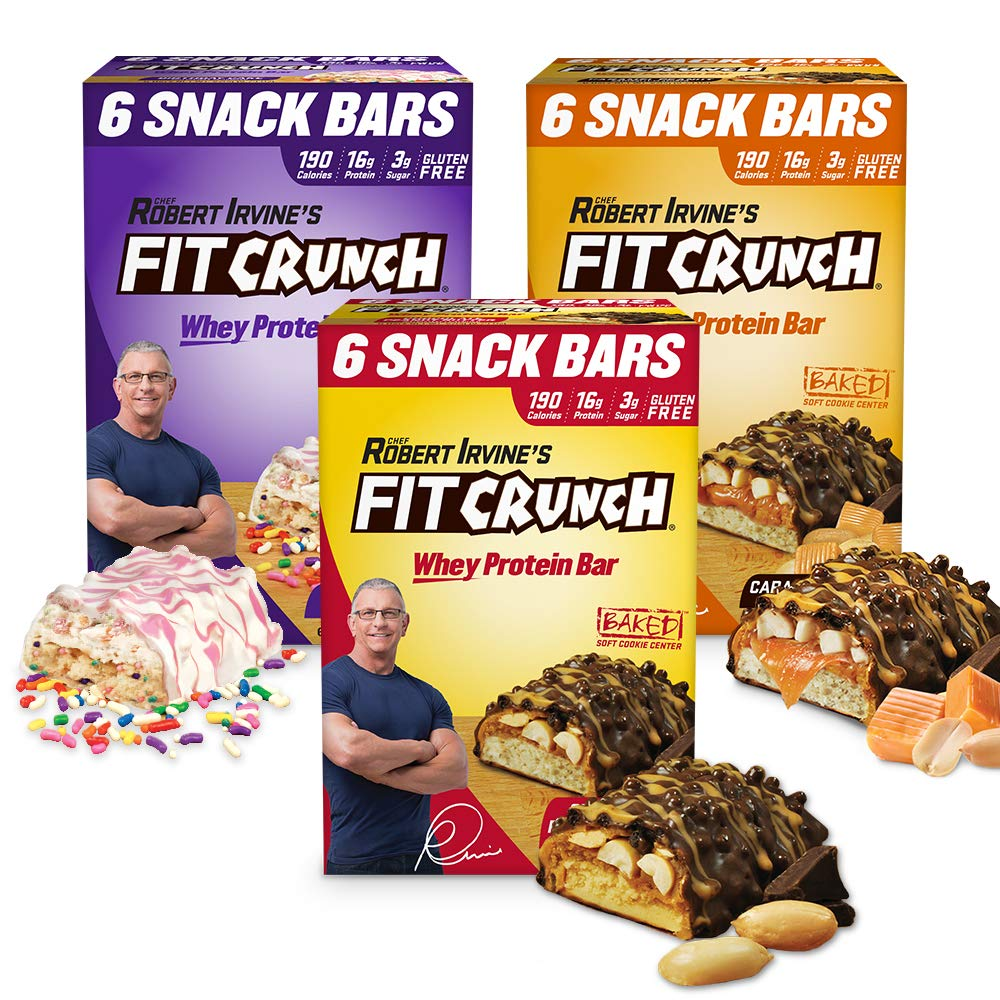 FITCRUNCH Snack Size Protein Bars | Designed by Robert Irvine | World's Only 6-Layer Baked Bar | Just 3g of Sugar & Soft Cake Core (18 Snack Size Bars, Variety Pack) by Fit Crunch