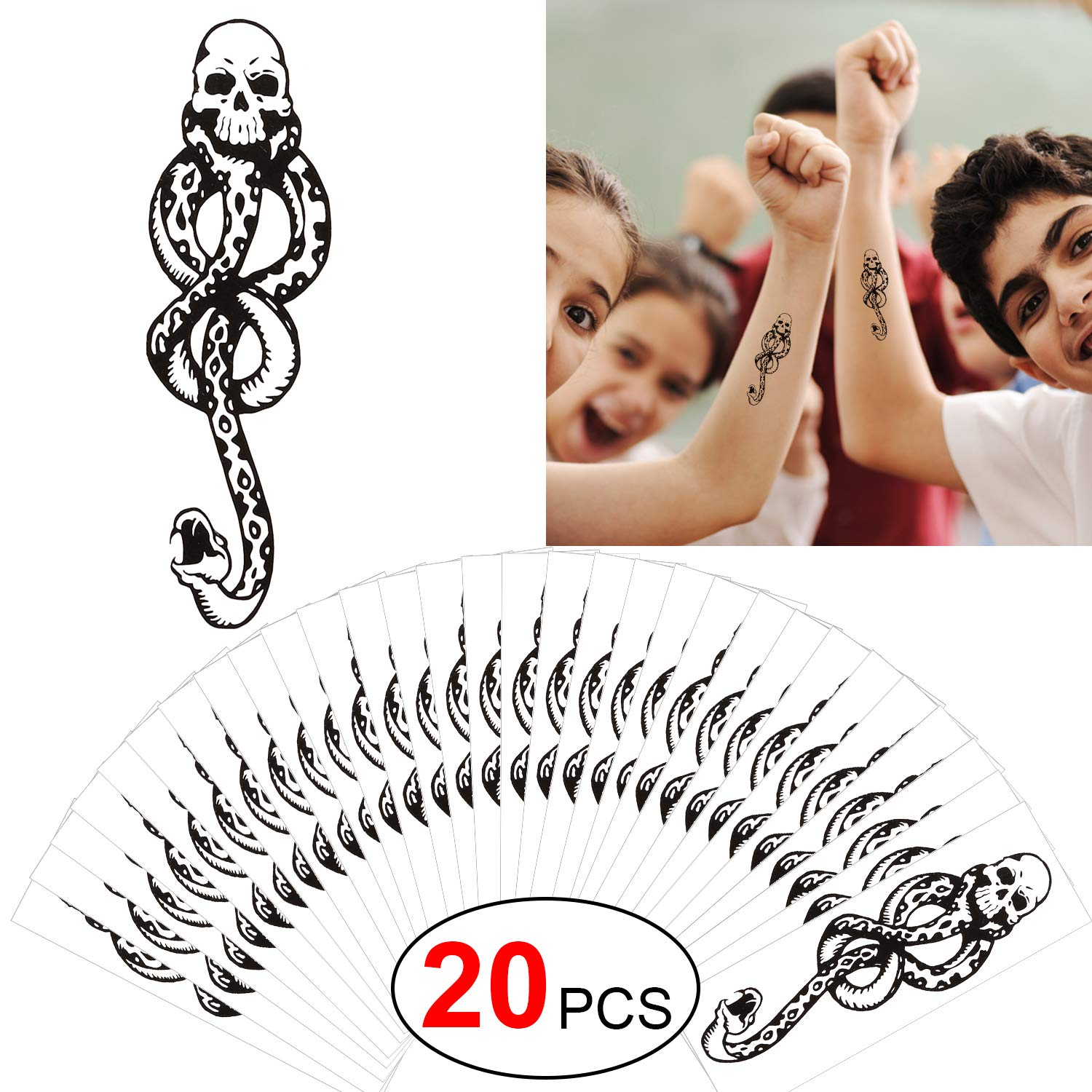 Howaf 20pcs Death Eaters Dark Mark Mamba Skull Temporary Tattoo for Halloween Costume Accessories, Halloween Tattoos for Kids, Women, Men