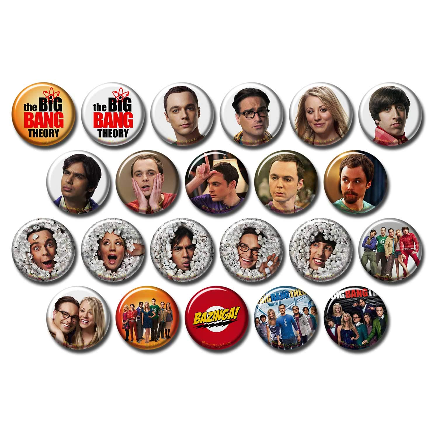 The Big Bang Theory 22 pcs Button Fridge Magnets Set Pack TV Series 045-P001 tbbt Sheldon Cooper Jim Parsons,Party Favors Supplies Gifts Home Decor (Round 1.5 inch|3.7cm)