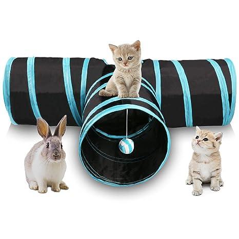 SODIAL Tunel de gato de 3 maneras Juego de gato plegable para mascotas Tunel con Bola