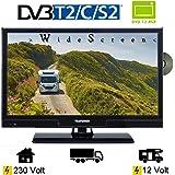 Telefunken L20H270K4DV LED TV 20 Zoll 51 cm DVB/S/S2/T/T2/C, DVD, USB, 12V 230V, Energieeffizienzklasse A+ nur 14Watt, Wide Screen TV, Fernseher