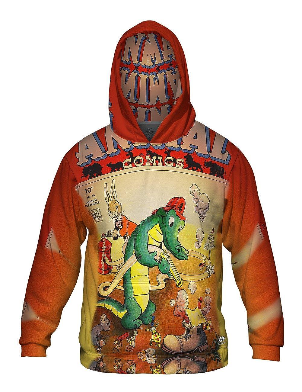 Allover Print Mens Hoodie Sweater Alligator Fun Comic Retro Yizzam