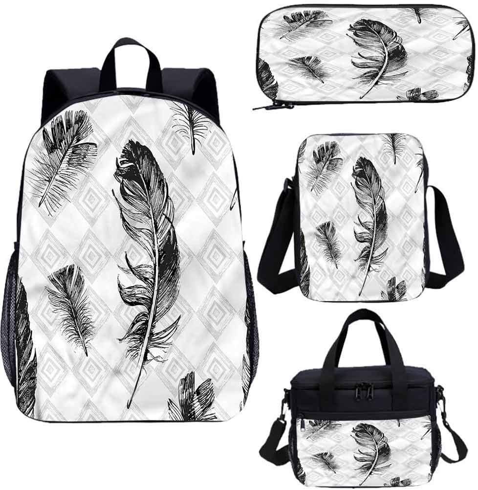 Plumas de 15 pulgadas mochila con bolsa de almuerzo conjunto de estuche, cuadrados anidados mosaico 4 en 1 conjuntos de mochila