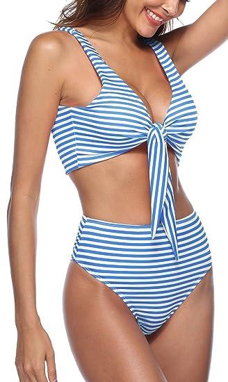de0580f0709 Amazon.com: She's Style Womens Tie Knot Front High Waist Thong Bandage 2PCS  Bikini Sets Beachwear: Clothing