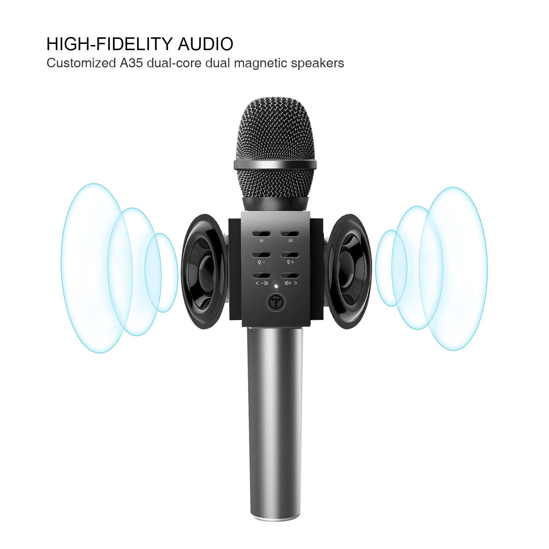 TOSING 008 Micrófono de Karaoke Inalámbrico Bluetooth, Potencia de Volumen Más Alta 10W, Más Bajo, 3-en-1 Máquina de Micrófono Portátil de Altavoz Portátil ...
