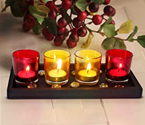 TIED RIBBONS Pack of 4 Votive Glass Tealight Candle Holder with Wooden Tray - Votive Tealight Candle Holders for Table Ceter Piece Wedding, Parties, Living Room Decor Home Diwali Lighting Decoration