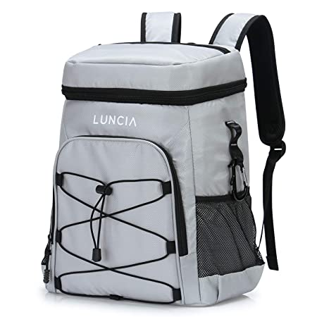 LUNCIA 33can Collapsible Cooler Bag Leakproof Cooler Backpack Insulated Soft Cooler for Beach Picnic Fishing Hiking Camping Park Day Trip, 24L, Grey