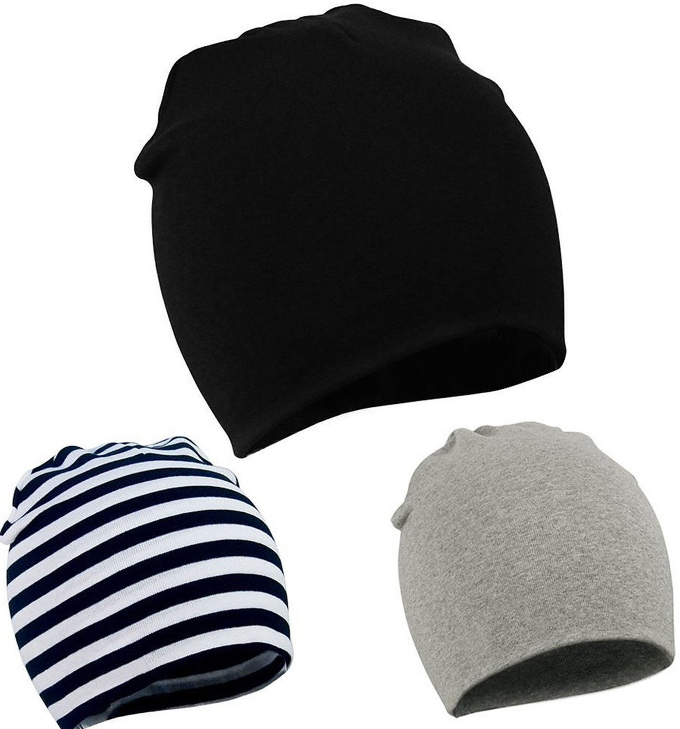 Zando Toddler Infant Baby Cotton Soft Cute Knit Kids Hat Beanies Cap A 3 Pack-Mix Color2