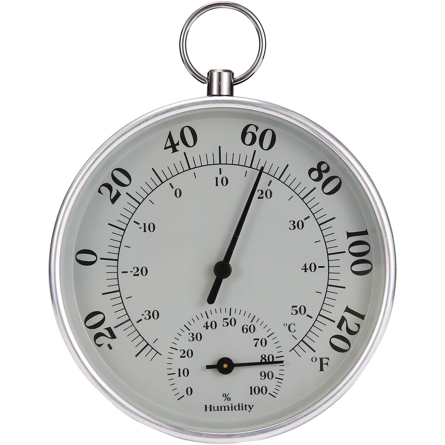 Indoor Outdoor Thermometer Wireless - Weather Round Hygrometer Thermometer, No Battery Required Hanging Hygrometer Watch for Wall, Table, Car, Greenhouse or Decorative, Round 4