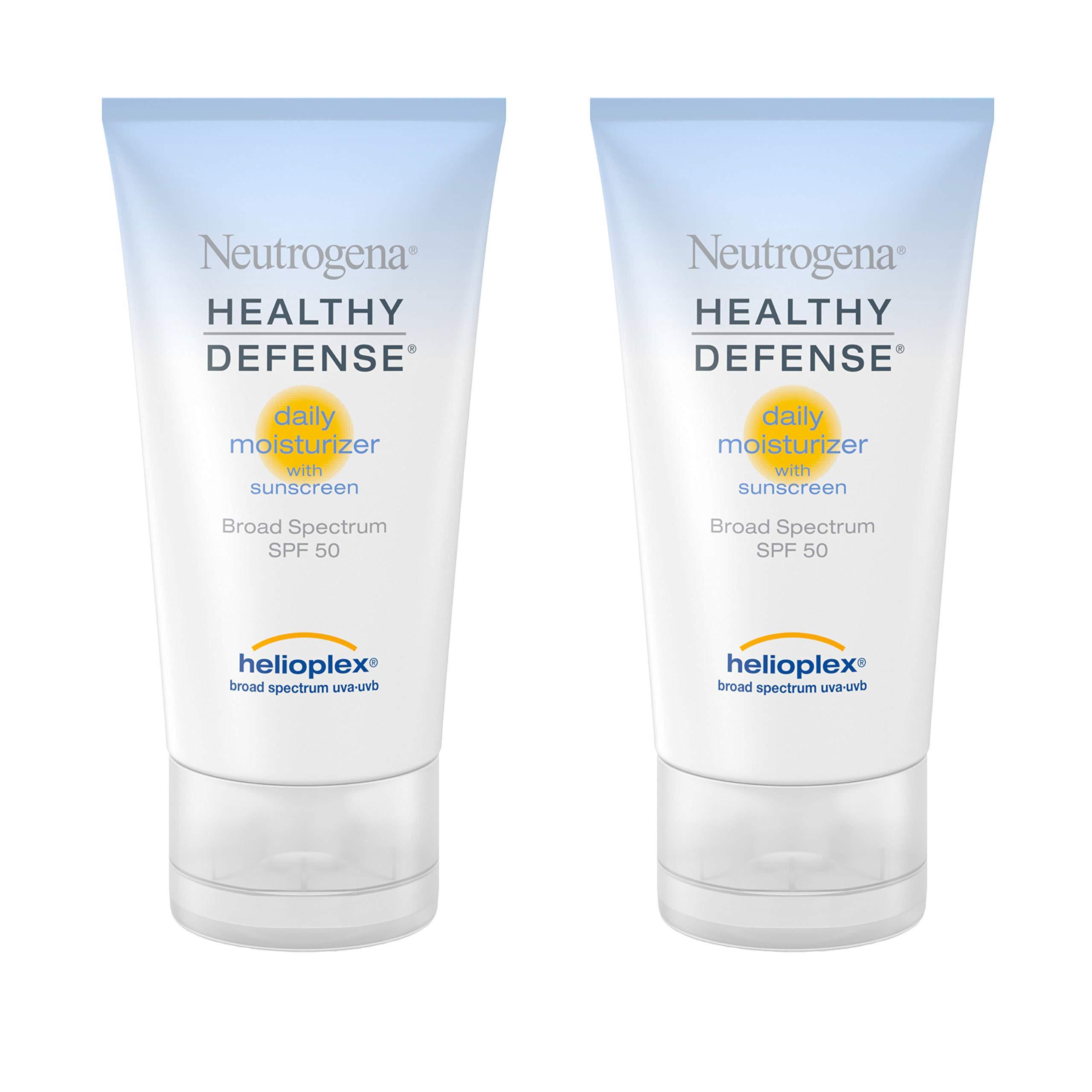 Neutrogena Healthy Defense Daily Moisturizer with Broad Spectrum SPF 50 Sunscreen, Vitamin E & Anti-Oxidants, Lightweight, Non-Greasy & Hypoallergenic, 1.7 fl. oz (Pack of 2)