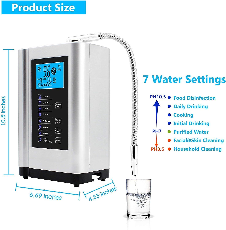 Ionizador de agua, purificador de agua PH 3,5-10,5, hasta 500 mV ...