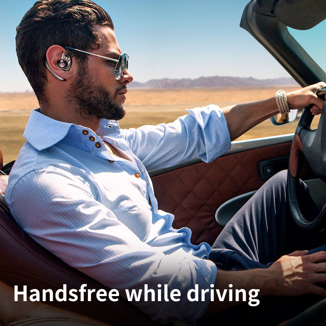 Aminy Bluetooth Headset with 16-Hr Playing Time V4.2 Car Bluetooth Headset Wireless Earphones with Mic Cell Phone noise cancelling Bluetooth Earpiece for iPhone Samsung Android (Updated Version) by Aminy (Image #6)