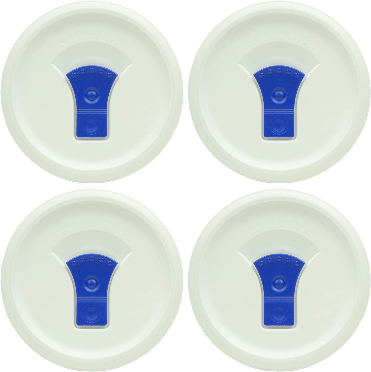 Corningware FW16 French White Lid with Vented Blue Tab Casserole Replacement Lid - 4 Pack