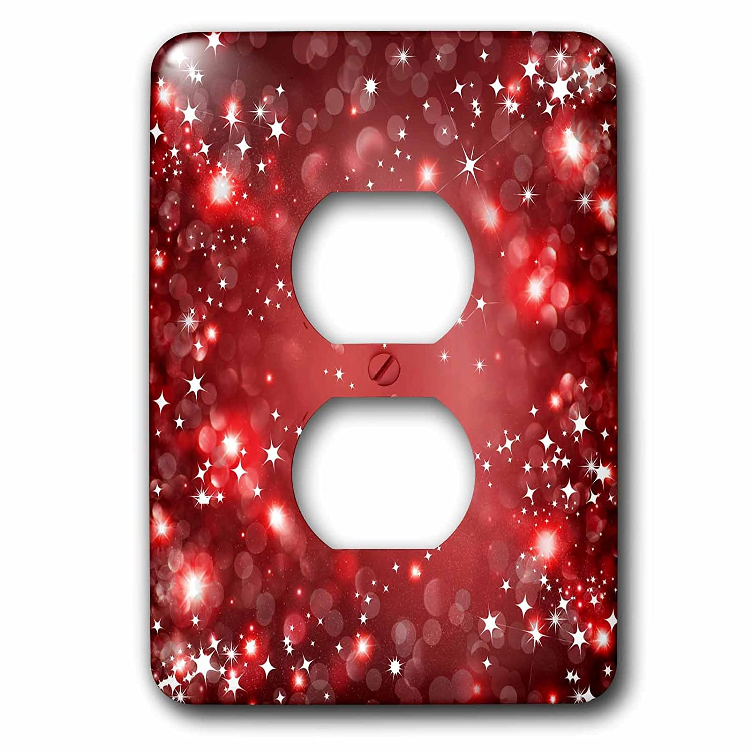 3dRose LSP/_222288/_6 White and Red Sparkle Bokeh with Stars 2 Plug Outlet Cover