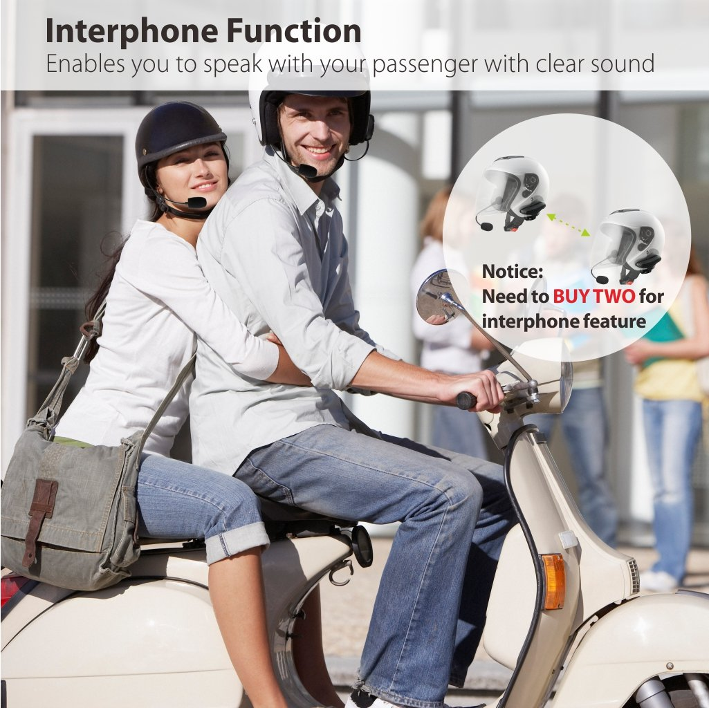Avantree Kit Intercomunicador Bluetooth Impermeable para Casco de Moto 2018 Version HM100PS Auriculares Manos Libres Inal/ámbricos con Interfono y GPS para Moto
