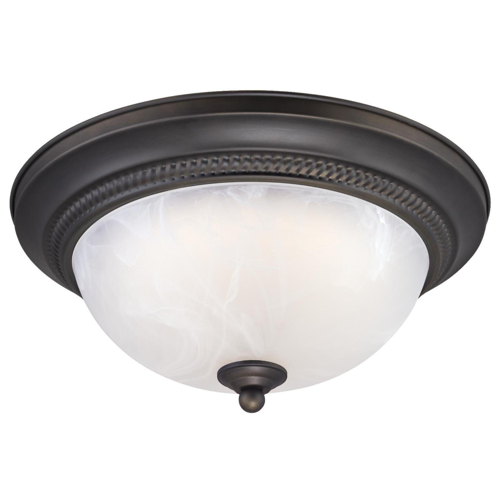 Westinghouse 6400800 11-Inch LED Indoor Flush Mount Ceiling Fixture, Oil Rubbed Bronze Finish with White Alabaster Glass