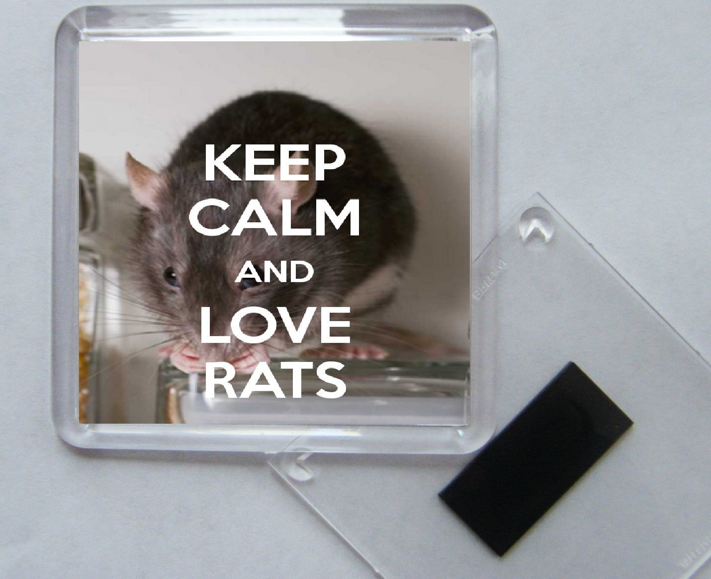 Keep Calm and Love Rats Square Acrylic Fridge Magnet