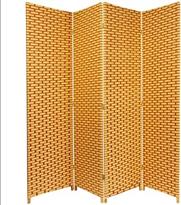 Oriental Furniture 6 ft. Tall Woven Fiber Room Divider - Natural/Rust - 4 Panel