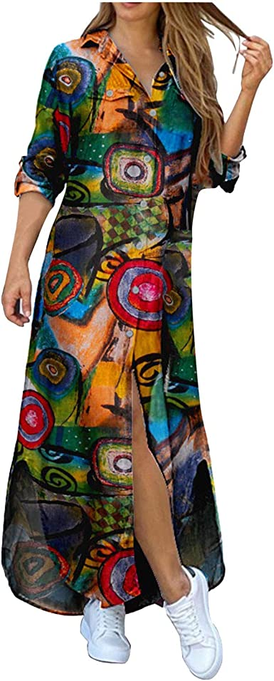 Franterd Casual Maxi Dress for Women,Floral Button Down Roll up Long Sleeve Long Dress Loose Long Maxi Dresses