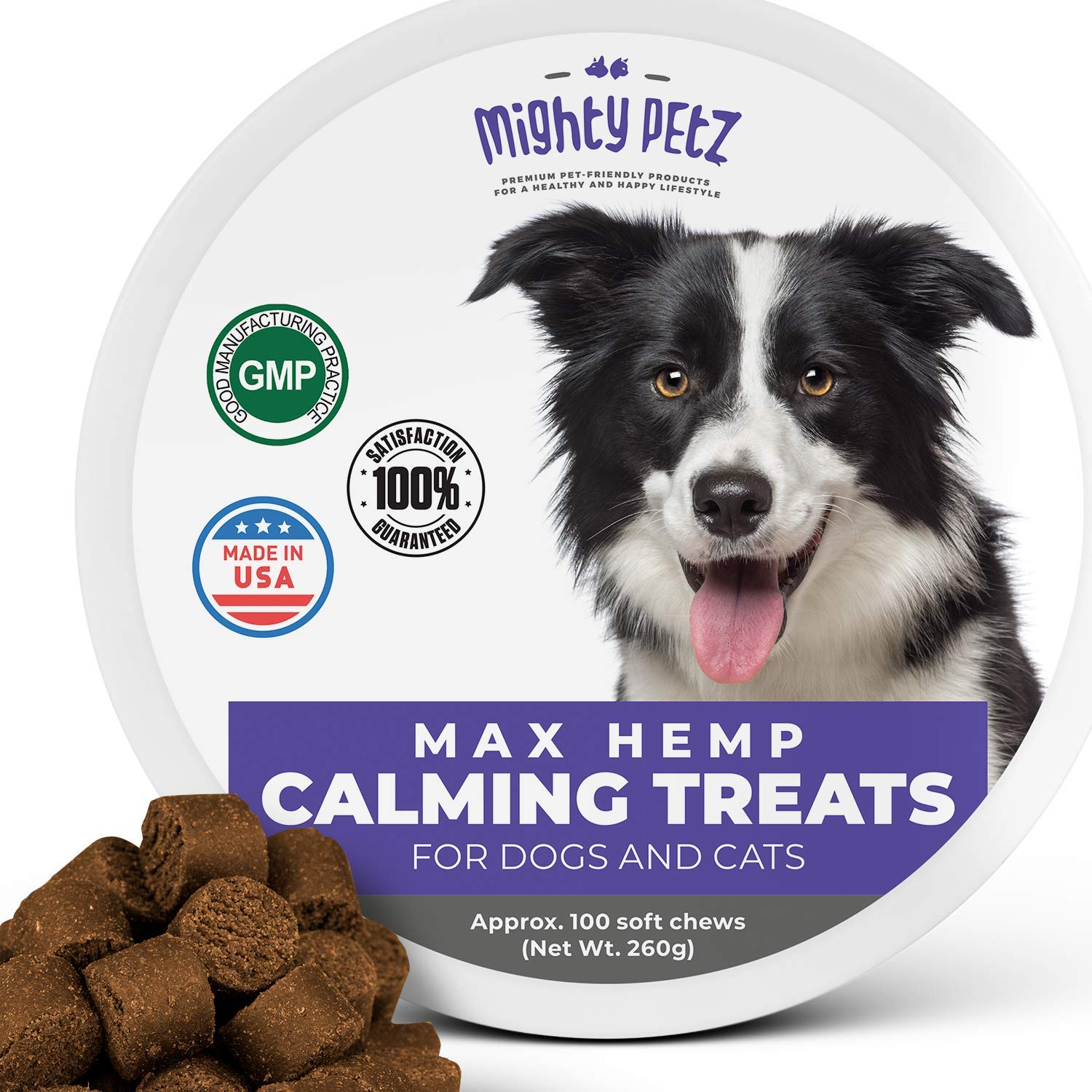MAX Hemp Calming Treats for Dogs - Dog Anxiety Relief & Anti Stress Bites with Melatonin + Hemp Oil. Behavioral Aid Chews for Pet Composure, Separation, Chewing, Barking, Thunder Storms, Fireworks by Mighty Petz
