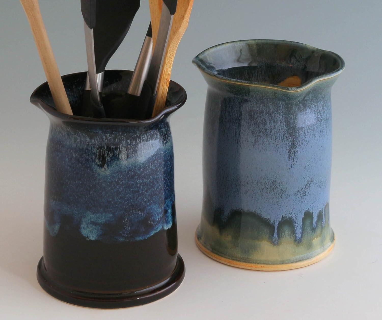 Stoneware Vessel, Utensil Crock, Utensil Jar, Vase, Wine Chiller - Ceramic / Stoneware - Available in Black & Blue or Blue, Green & Amber finishes - Handmade by Susan O'Hanlon