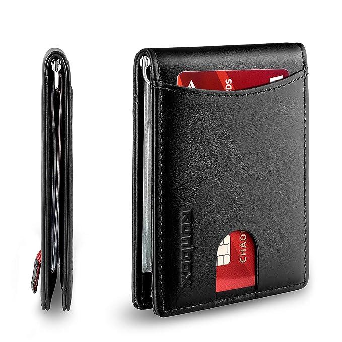 Amazon.com: Billetera delgada minimalista con clip de dinero ...