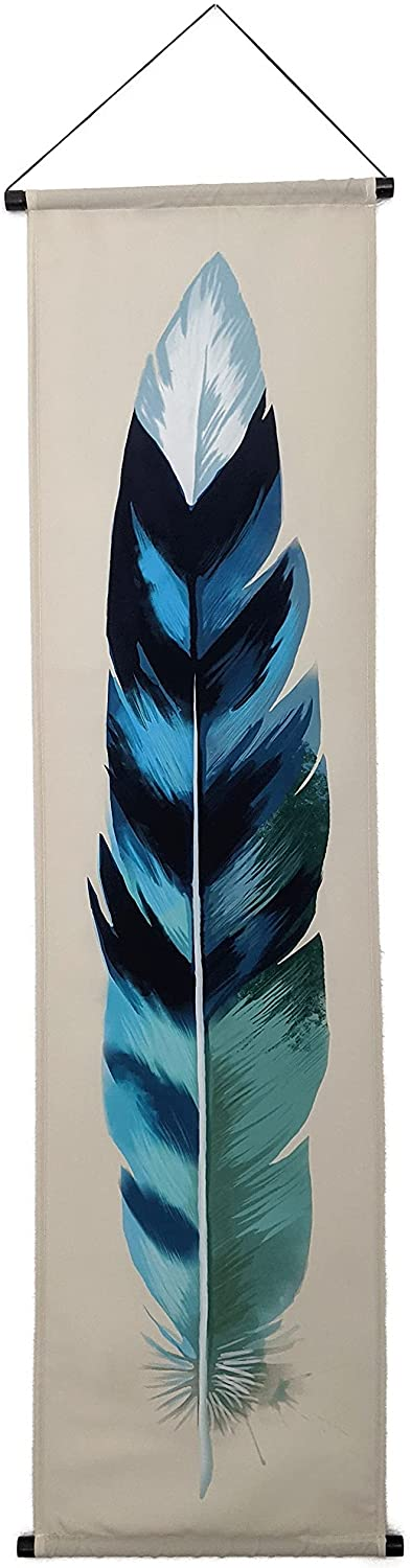 Madrona Brands Watercolor Feather Tapestry - Narrow Vertical Hanging Wall Art Decor - 52