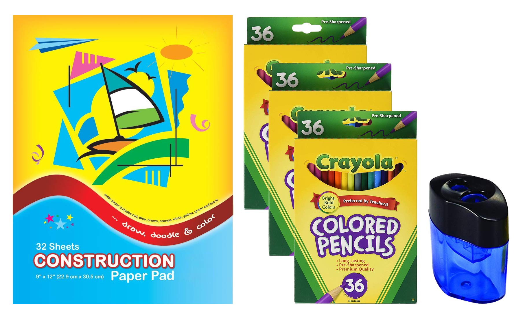 Crayola Colored Pencils,3 packs of 36 Premium Quality, Pre-Sharpened | Construction Paper Pad | Crayon and Pencil Sharpener by Crayola