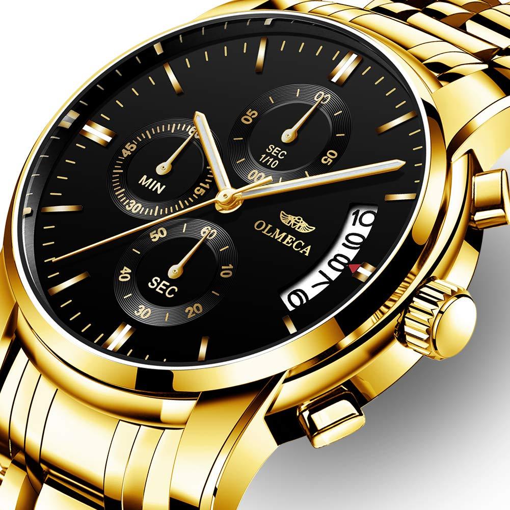 Amazon.com: OLMECA Mens Watches Luxury Wristwatches Rhinestone Watches Waterproof Fashion Quartz Watches Stainless Steel Black Watch 0826-QJHMgd: Watches
