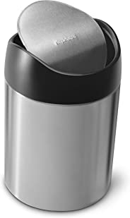 simplehuman 1.5 Liter / 0.40 Gallon Countertop Trash Can, Brushed Stainless Steel