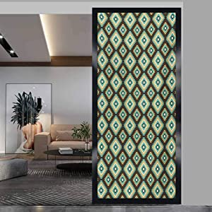 wonderr Privacy Home Decor Decorative Stained Glass Window Film, Southwestern Rhombus Shapes with Zigzag Details Native A, Non Adhesive No Residue Easy Trim Films for Sun Blocking, W17.7xH35.4 Inch