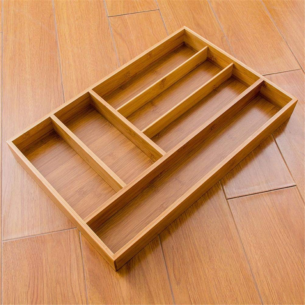 Bamboo Cutlery Drawer Organizer: Storage dividers for silverware, flatware, utensils, jewelry, etc. Stylish tray for kitchen, bathroom, desk, utility and junk drawers. midsummer