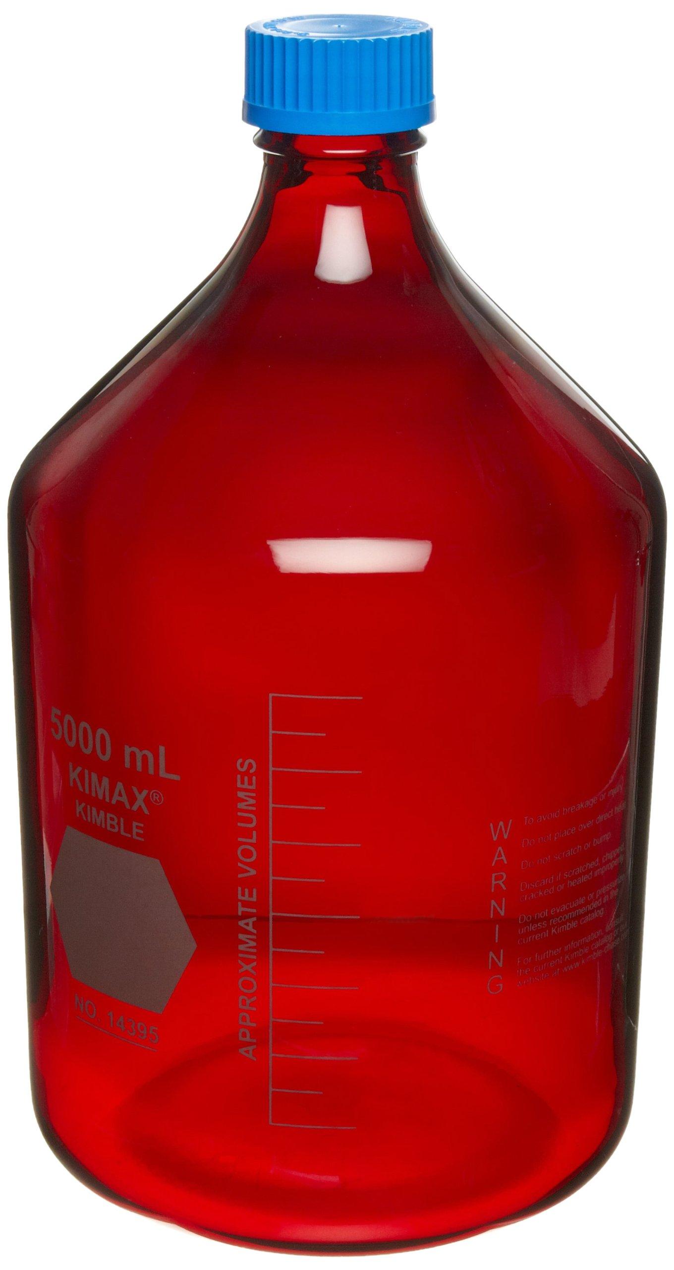 Kimble RAY-SORB 14399-1000 Borosilicate Glass Graduated GL-45 Media/Storage Bottle With Blue Polypropylene Cap, 1 L Capacity