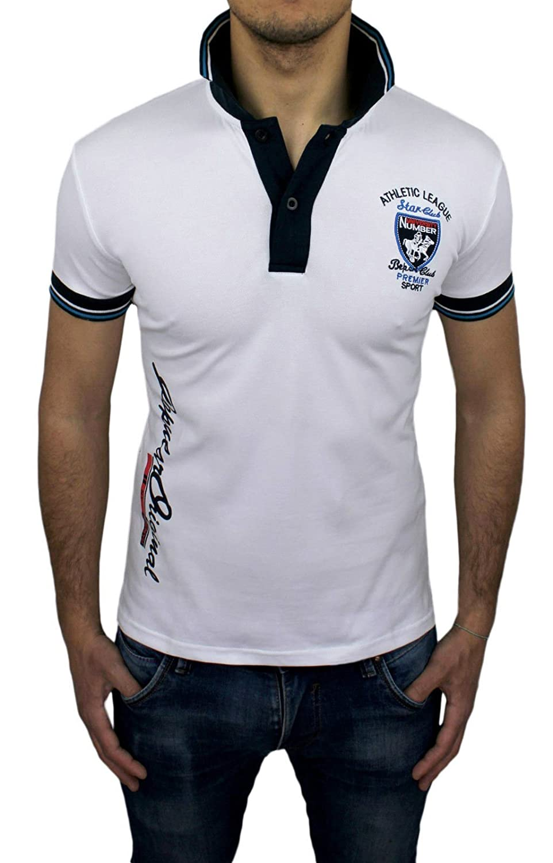 Polo camiseta hombre Athletic Star Club blanco Casual Slim Fit ...