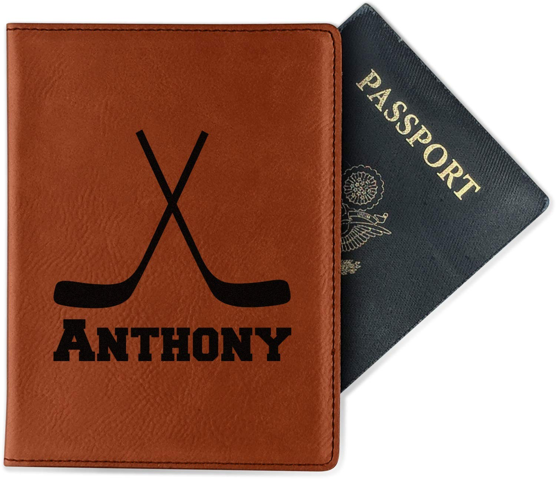 Personalized Single Sided Hockey 2 Leatherette Passport Holder