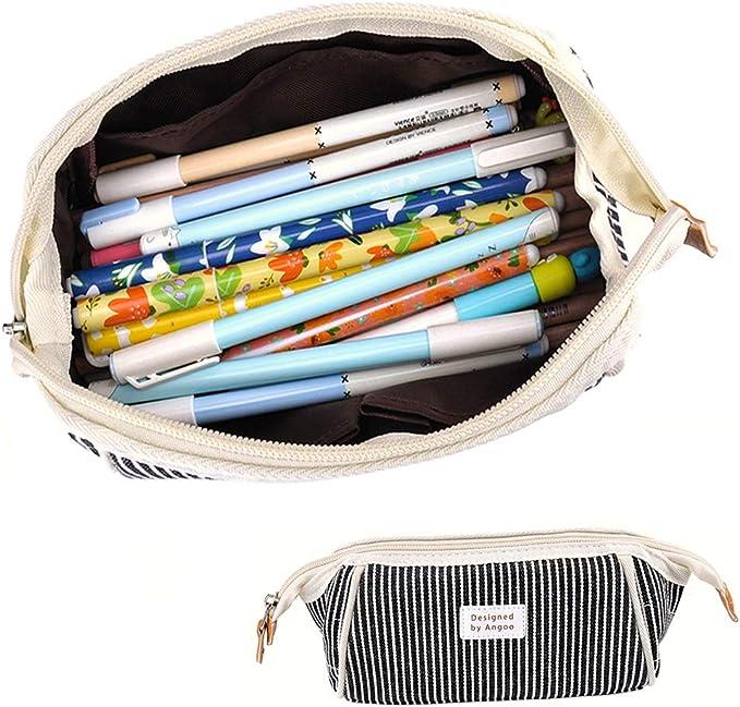 iSuperb Estuche Escolar Bolsa Pencil Case para Lapices Estudiante Plumier Colegio Pen Pencil Holder Lápiz Bolsa de Lona Gran Capacidad Trapezoidal Rayas Estuche Lápices (Rayas azul oscuro): Amazon.es: Oficina y papelería