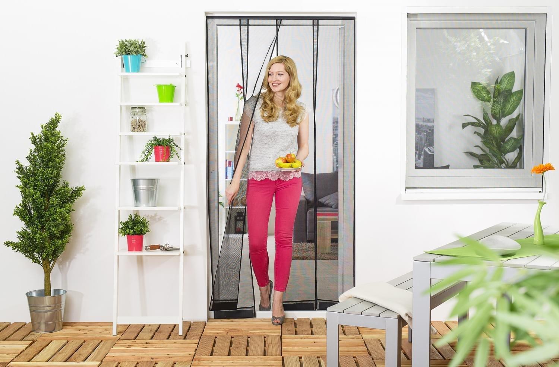 PROHEIM Insektenschutz T/ür Vorhang 95 x 220 cm in anthrazit Fliegenvorhang aus Polyester Lamellen mit eingen/ähten Gewichten und Selbstklebender PVC Klemmleiste