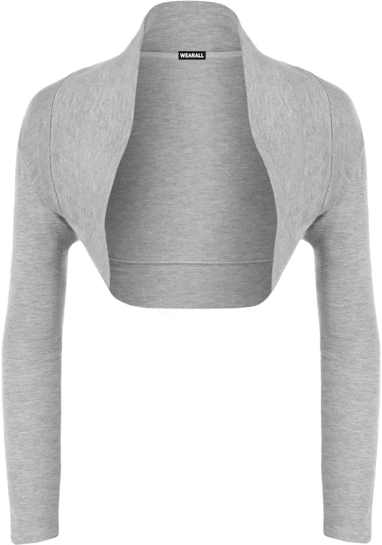 WearAll Womens Long Sleeve Shrug Bolero Cardigan - Grey - US 4-6 (UK 8-10)