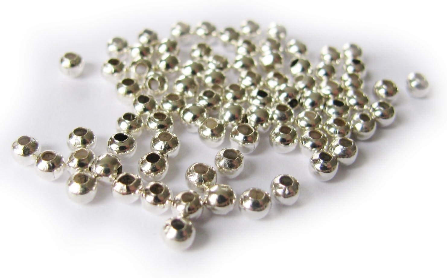 100 kleine Zwischenperlen in silberfarben 3 mm