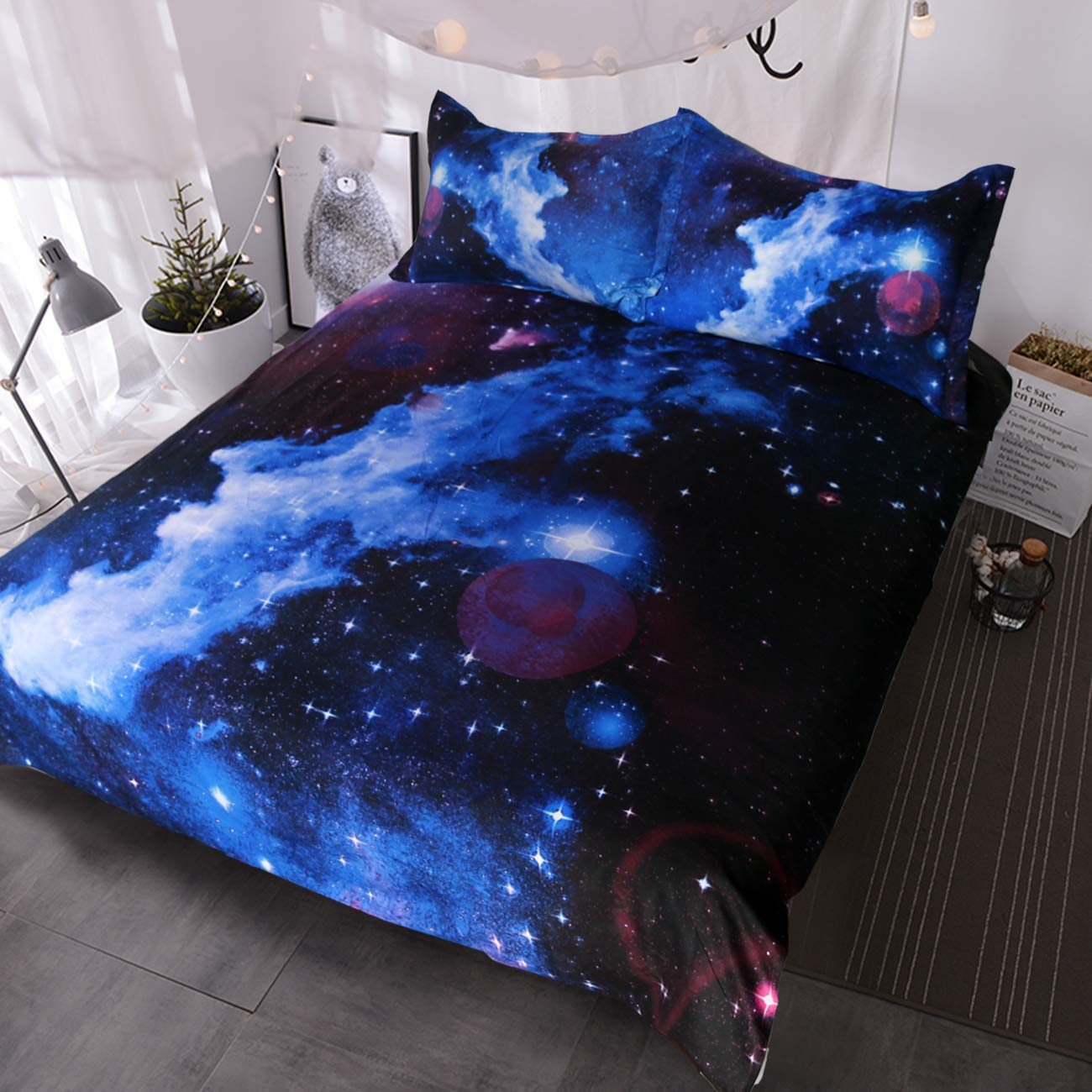 BlessLiving Blue and Purple Nebula Bedding Set 3D Galaxy Duvet Cover 3 Piece Kids Boys Girls Space Bedding (Twin)