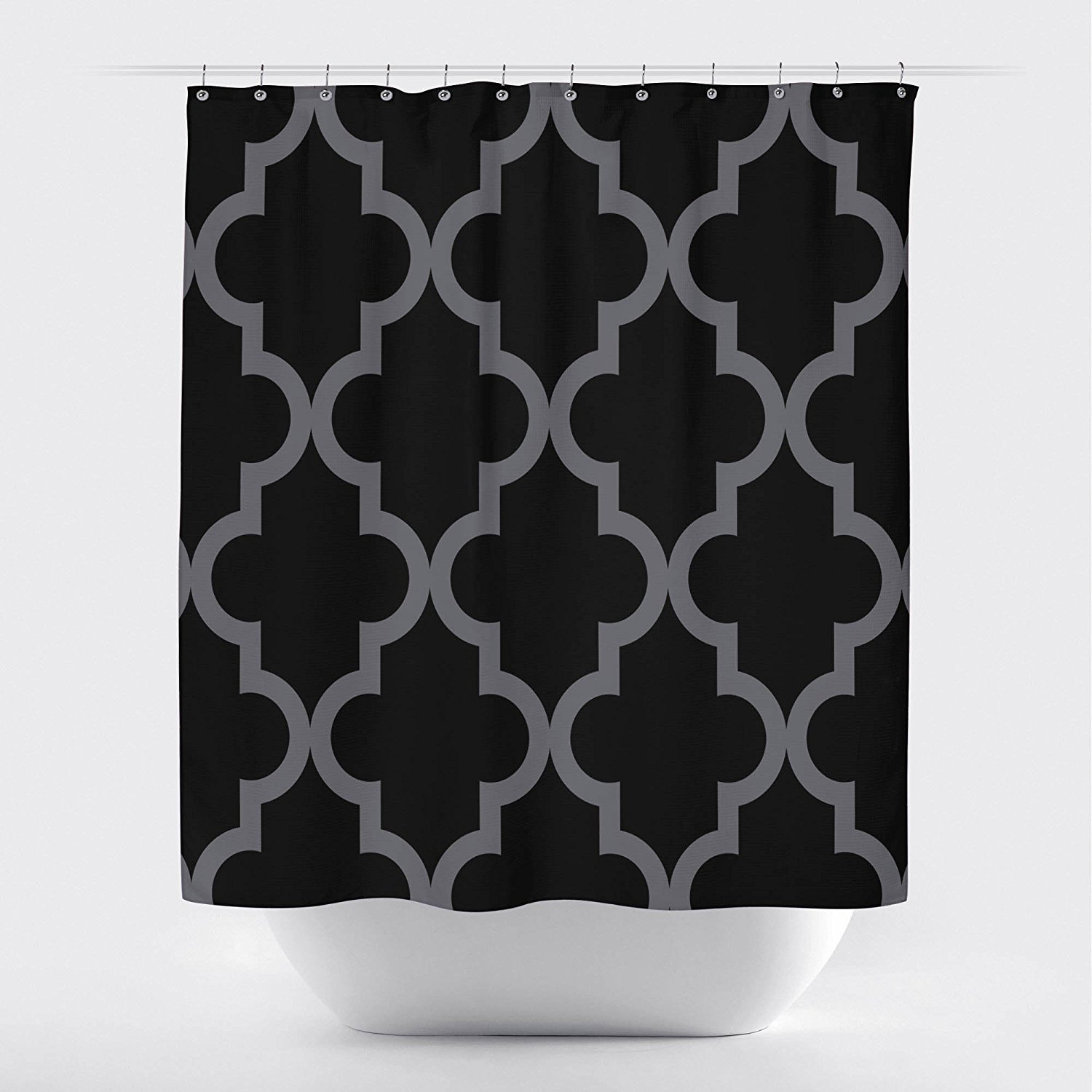 Amazon Studios Scalloped Shower CurtainLarge Black On Ivory By Crystal Emotion Home Kitchen