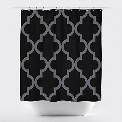 Studios Scalloped Shower CurtainLarge Black On Ivory By Crystal Emotion