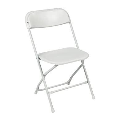 Best Choice Products Set of 5 Portable Stackable Lightweight Plastic Folding Chairs for Events, Parties - White